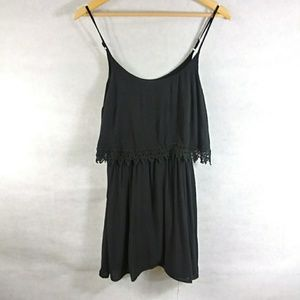Solid black with lace sexy layered mini dress